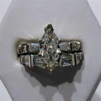 14kt White Gold Marquise and Baguette Diamond